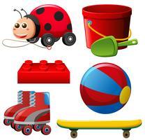 Verschillende speelgoed in rode kleur