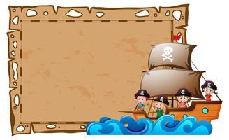 Grens sjabloon met kinderen als piraten vector