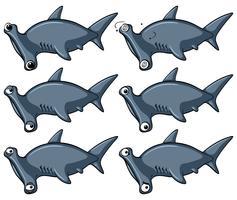 Hammerhead haai met verschillende emoties vector