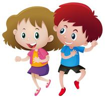 Jongen en meisje dansen vector