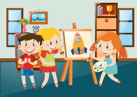Kinderen die op canvas in klaslokaal trekken