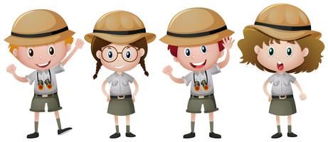 Vier kinderen in safari-outfit vector