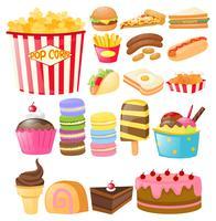 Voedsel dat met fastfood en desserts wordt geplaatst