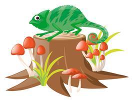 Groene hagedis die zich op logboek bevindt