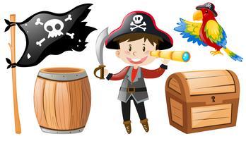 Piraat met piraat en papegaai wordt geplaatst die vector