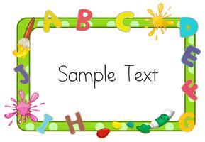 Bordsjabloon met alfabetten en kleur spatten