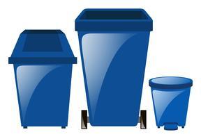 Blauwe vuilnisbakken in drie verschillende maten
