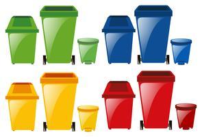 Set van vuilnisbakken in verschillende kleuren vector