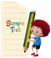 Papiersjabloon met jongen en gigantische potlood