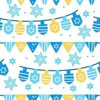 hanukkah viering naadloos patroon met slinger en ster van david vector
