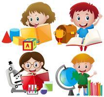 Jongen en meisje met schoolmateriaal
