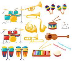 Verschillende soorten muziekinstrumenten vector