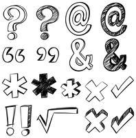 Doodle-kunst voor verschillende tekens vector