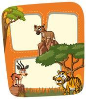 Kadersjabloon met dieren in het wild vector
