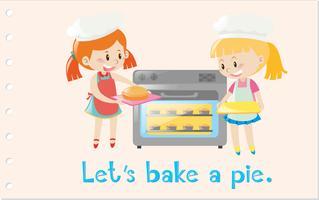 Actiewoordenkaart met meisjes die pastei bakken vector