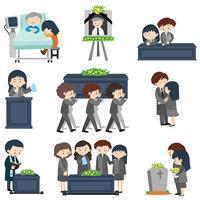 Verschillende evenementen bij de begrafenis vector
