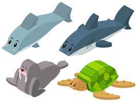 3D-ontwerp voor zeedieren vector