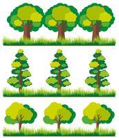 Naadloze achtergrond met bomen op gras