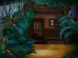 Houten huis in het diepe bos