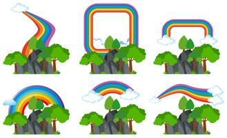 Regenbogen over de rotsachtige bergen