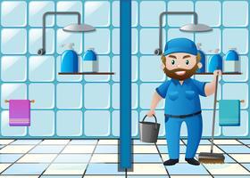 Conciërge die het toilet schoonmaakt