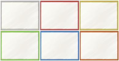 Lege borden met zes kleurenlijsten