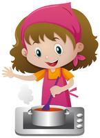 Meisjes kokende soep op het fornuis