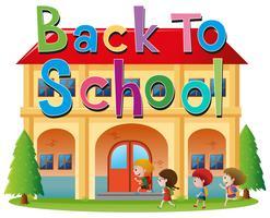 Terug naar schoolthema met kinderen die naar school gaan vector