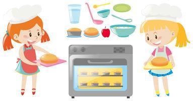Twee meisjes bakken en verschillende soorten voedsel