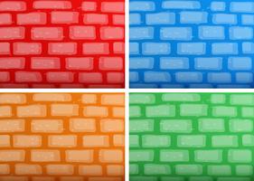 Achtergrondmalplaatje met brickwalls in vier verschillende kleuren vector