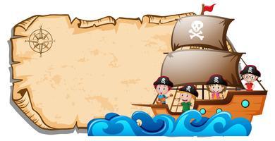 Papieren sjabloon met kinderen op piratenschip