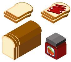 3D-ontwerp voor brood en aardbeienjam vector