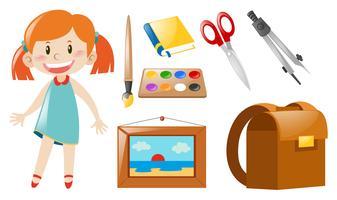 Meisje en school objecten