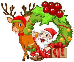 Kerstthema met kerstman en rendier vector