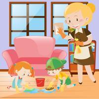 Kinderen en meid die het huis schoonmaken