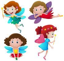 Vier schattige feeën vliegen vector