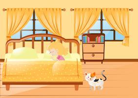Meisjeslaap in gele slaapkamer vector