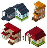 3D-ontwerp voor huizen in verschillende stijl vector