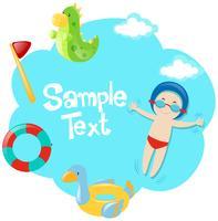 Papiersjabloon met jongen in het zwembad vector