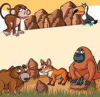 Papiersjabloon met wilde dieren vector