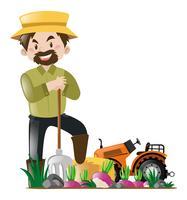Landbouwer en tractor in de boerderij vector