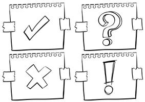 Vier verschillende tekens op papier