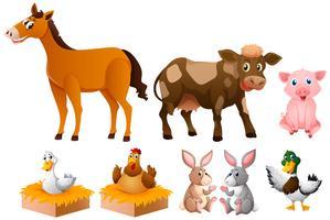 Verschillende soorten boerderijdieren vector