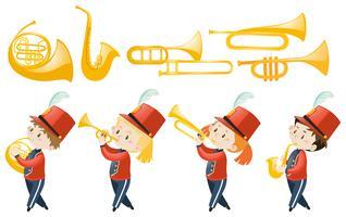Reeks kinderen die muzikale instrumenten spelen