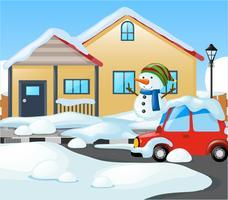 Huis bedekt met sneeuw in de winter vector