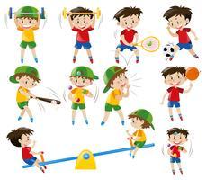 Jongens doen verschillende sporten