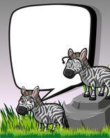 Achtergrondmalplaatje met zebras op gebied vector