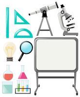 Wetenschapsobjecten en whiteboard vector