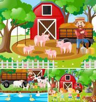 Drie scènes van boer werken op de boerderij