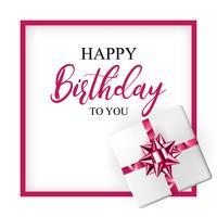 Verjaardagswenskaart met realistische geschenkdoos en decoratieve boog